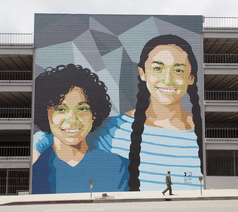 Graffiti sul riconoscimento facciale a Hollywood, USA, 2014.