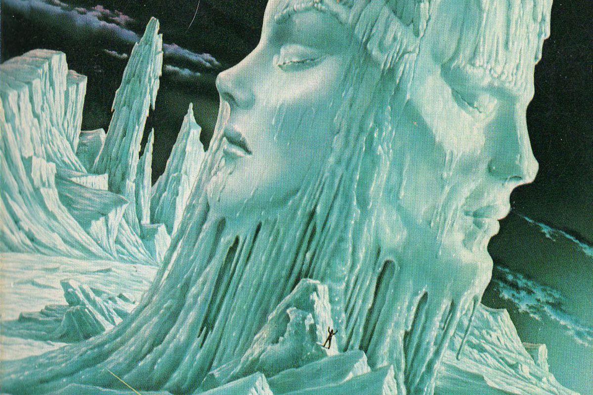 """Dettaglio della copertina di """"La mano sinistra delle tenebre"""", libro di Ursula Le Guin."""