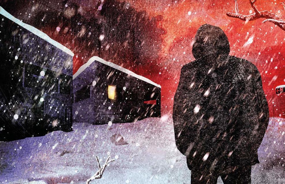 """Dettaglio della copertina di """"Nero come la notte"""", Marsilio."""