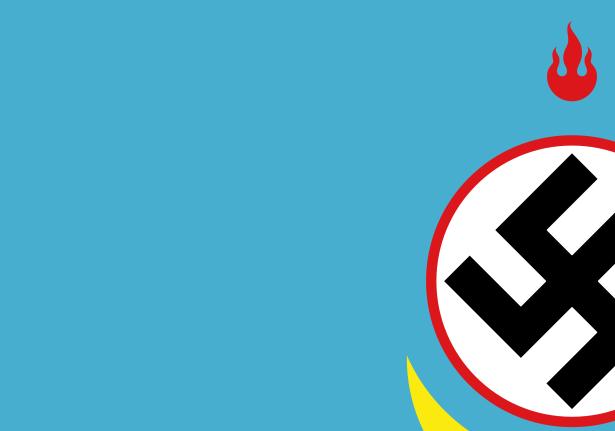 Un particolare della bandiera di Tsagaan Khass, partito neonazista mongolo