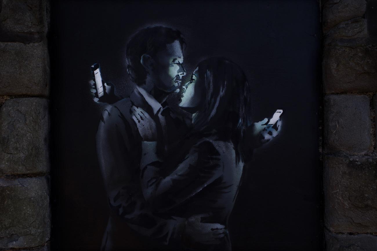 Il celebre graffito di Banksy, Bristol, UK