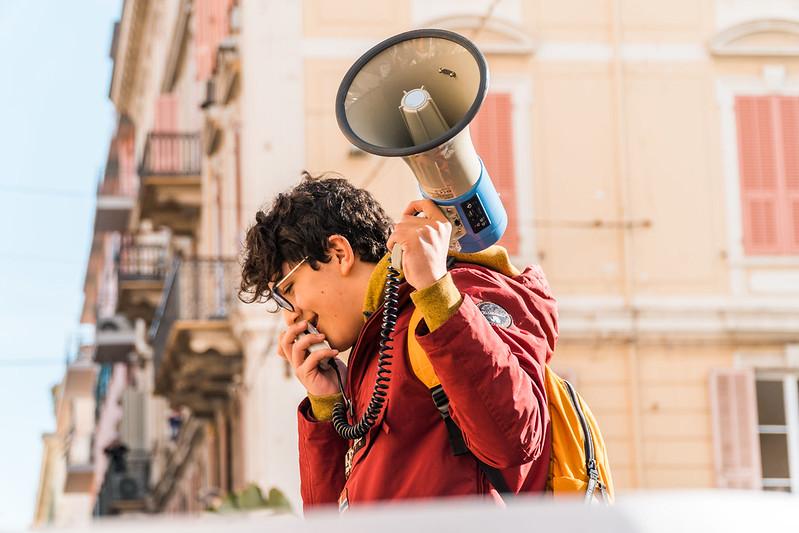 Un attivista di Fridays For Future, Italia, 2019.